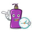 with clock shampo character cartoon style vector image