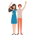 young couple with hands up avatar character vector image vector image