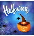 Halloween greeting card with pumpkin with hat vector image