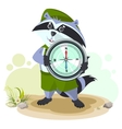 Raccoon scout holding compass vector image