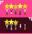 3 and 5 rating stars with people holding them vector image vector image