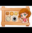 A frame with a young girl with drinks and biscuits vector image vector image