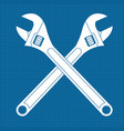 adjustable wrench crossed white icons on vector image vector image