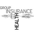 benefits of group health insurance text word vector image vector image