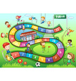Boardgame template with sport theme vector image vector image