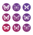 bright icons with white butterflies silhouettes vector image vector image