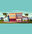 cartoon cottage detached house cross vector image vector image