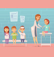 children visit pediatrician composition vector image vector image