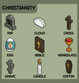 christianity color outline isometric icons vector image