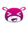 color silhouette cheerful hippopotamus head wild vector image