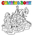 coloring book with shipwreck vector image