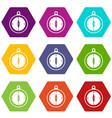 compass icon set color hexahedron vector image vector image