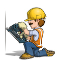 Construction Workers Nailling vector image vector image