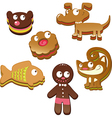 cute christmas gingerbread cookies isolated vector image