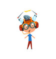 cute funny kid in fantastic headdress and glasses vector image vector image
