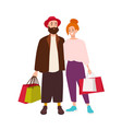 cute happy couple carrying shopping bags smiling vector image vector image