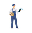 delivery man or courier with a cardboard box and vector image vector image
