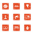 emigrate icons set grunge style vector image vector image