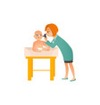 female pediatrician doctor examines baby on vector image vector image