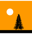 Fir tree silhouette at sunset vector image