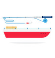 fishing boat and spinning flat isolated vector image