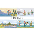 flat fishing hobby composition vector image