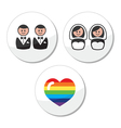 Gay lesbian wedding icons set vector image vector image