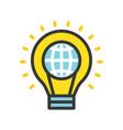 globe in light bulb saving energy filled outline vector image
