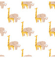 graphic giraffe and big elephant seamless pattern vector image vector image