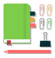 green notebook isolated office equipment note vector image vector image