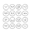 hand drawn funny smiley faces sketched facial vector image vector image