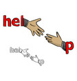 hand of businessman helping the other vector image vector image