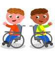 happy children on wheelchair vector image