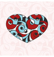 Heart on Seamless Abstract Monochrome Pattern vector image vector image