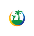 island palm tree travel business vector image vector image