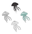 jelly fish icon in cartoonblack style isolated on vector image
