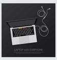 laptop with music earphones vector image vector image