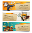 Law Justice Flat Horizontals Banners Set vector image vector image