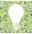 Light bulb symbol with green icons background vector image vector image