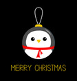 merry christmas ball toy hanging penguin bird vector image