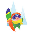 pig with a helmet and a snowboard vector image