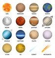planets icon set realistic style vector image vector image