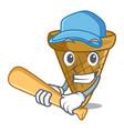 playing baseball wafer cone character cartoon vector image vector image