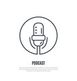 podcast line icon microphone symbol liner style vector image