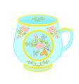 Porcelain mug of with floral pattern tea service vector image
