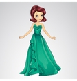 Princess In Green Evening Dress vector image vector image