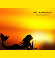 romantic mermaid silhouette on sunrise vector image vector image