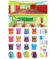 school interior set backpacks image vector image