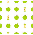 seamless pattern with cartoon green apples vector image