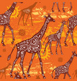 seamless pattern with giraffes and ethnic motifs vector image vector image